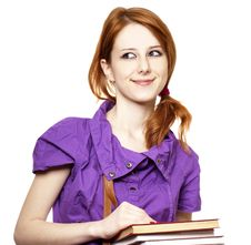 Free Red-haired Girl Keep Book In Hand. Royalty Free Stock Images - 18755039