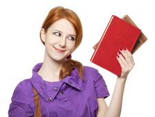 Free Red-haired Girl Keep Book In Hand. Royalty Free Stock Photography - 18755057
