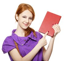 Free Red-haired Girl Keep Book In Hand. Royalty Free Stock Photography - 18755067
