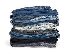 Stack Of Various Jeans Stock Image