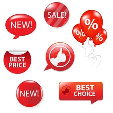 Free Set Of Red Sale Elements Royalty Free Stock Photos - 18755938