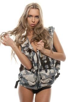 Cute Blond In Army Dress Stock Image