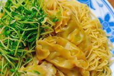 Meat Dumpling Noodles Stock Image