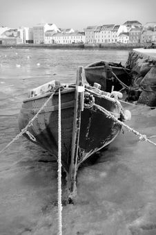 Boats In Ice On The Bank Of River, Black And White Royalty Free Stock Image