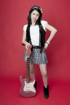 Free Girl With Pink Guitar Royalty Free Stock Photo - 18757685