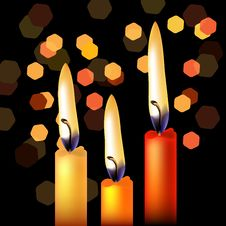 Free Three Festive Candles Stock Photography - 18759752