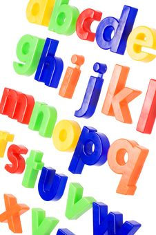 Plastic English Letters Isolated On White Stock Images