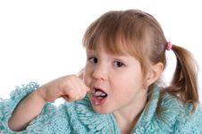 Free The Little Girl Eats Yoghurt Stock Photo - 18760060