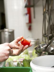 Preparing Tomato For Salad Stock Photos