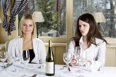 Free Young Girls Having Dinner In Fancy Restaurant Royalty Free Stock Photography - 18760867