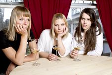 Free Young Girls Having Dinner In Fancy Restaurant Royalty Free Stock Image - 18761016