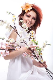Free Beautiful Woman With Spring Flowers Smiles Royalty Free Stock Image - 18761126