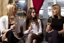 Free Young Girls Having Dinner In Fancy Restaurant Royalty Free Stock Photography - 18761227