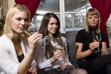 Free Young Girls Having Dinner In Fancy Restaurant Royalty Free Stock Photo - 18761325