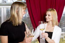 Free Young Girls Having Dinner In Fancy Restaurant Stock Image - 18761391