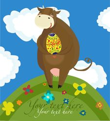 Free Happy Easter Cow Background Stock Image - 18762811