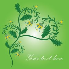 Free Flower Heart Card With Green Background Stock Photo - 18762930