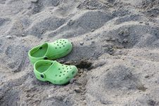 Free Sandals On The Sandy Beach Stock Images - 18764064
