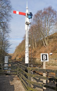 Old Railway Signal At Junction Stock Photography