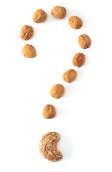 Free Nuts Question Mark Royalty Free Stock Photo - 18764345