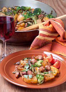 Plate Of Stir Fried Vegetables Stock Images