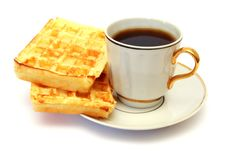 Free White Cup Of Coffee With Waffle Royalty Free Stock Image - 18764466