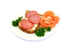 Breakfast With Bread, Tomatoes, Parsley, Salami Stock Images