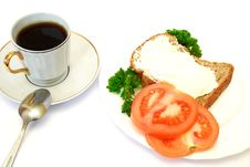 Breakfast With Bread, Tomatoes And Parsley Stock Images