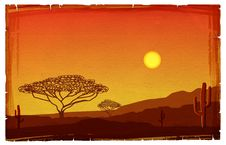 Free African Sunset Illustration Royalty Free Stock Photos - 18765168