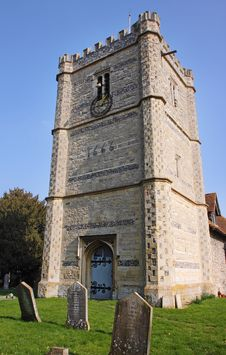 A Medieval English Village Church And Tower