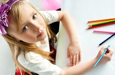 Free Girl With Pencils Royalty Free Stock Images - 18766369