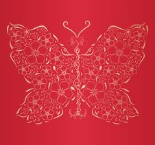Free Figured Gold Butterfly On  Red Background Stock Images - 18766464