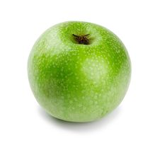 Free Ripe And Juicy Green Apple A Shank Downwards Royalty Free Stock Images - 18766569