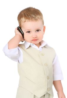 Free Little Boy With A Mobile Phone Stock Image - 18767061