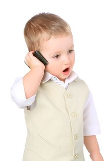 Free Little Boy With A Mobile Phone Stock Photos - 18767063
