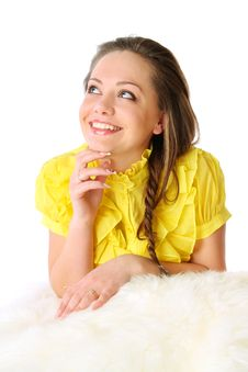 Free Girl In A Yellow Dress On Fur Clothing Royalty Free Stock Photo - 18767075