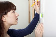 Woman DIY Spirit Level Stock Images