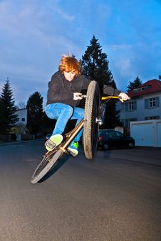 Free Boy With Dirtbike Is Going Airborne Royalty Free Stock Photography - 18769307