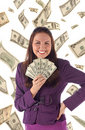 Free Happy Businesswoman On Dollars Background Royalty Free Stock Image - 18772346