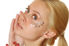 Free Beautiful Woman With Makeup And Sequins Royalty Free Stock Photos - 18771668