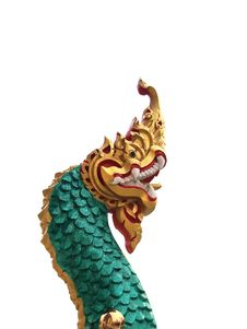Head Of Golden Naga Statue Royalty Free Stock Photo
