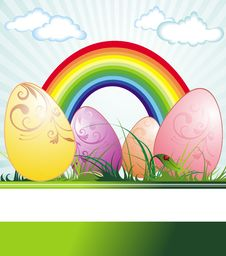 Easter Background With Eggs And