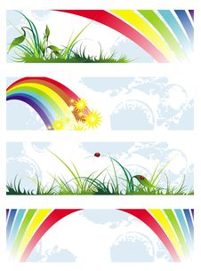 Free Set Of Summer Natural Banners With Rainbow Royalty Free Stock Images - 18777209