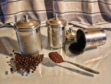 Antique Kitchen Canisters Set Stock Photography