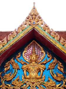 The Roof Gable And Deva Statue Thailand