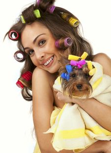 Free Female With Yorkshire Terrier Royalty Free Stock Image - 18778116