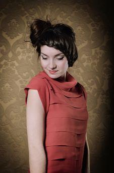Portrait Of The Beautiful Stylish Brunette Woman Stock Photos