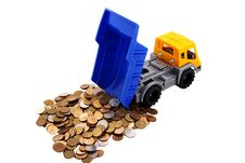 Free Toy Truck Loaded With Coins Royalty Free Stock Photos - 18781708
