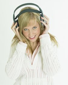 Free Woman With Headphones Royalty Free Stock Image - 18782316