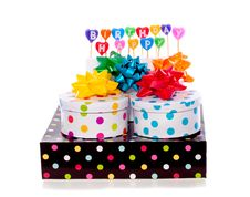 Free Cheerful Dotted Gift Boxes Royalty Free Stock Photo - 18782465